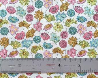 "Liberty London Lydia A 10""x26"" Fat Eighth Pink Yellow Turquoise Tana Lawn Fabric"