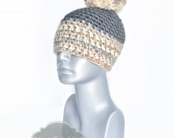 Gray and Tan Chunky Beanie with Pom, Beige Crochet Hat, Silver and Brown Winter Beanie With Puff, Pom Pom Knit Hat, Oatmeal Ski Cap