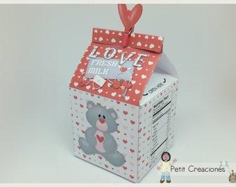"PRINTABLE MILK Carton ""Love Fresh Milk"" DIY, gift idea, placeholders, favor box, treat box, gift box for Valentine"