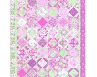 A Little Romance Quilt Pattern Moda University Lap Throw Twin Pieced Fat Quarters RARE