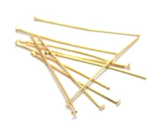 100 Rod 30 mm head flat earring gold