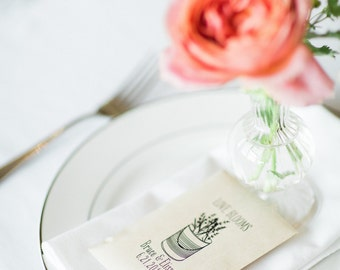 50 Customized Eco-Friendly Love Blooms Wedding Seed Favor Envelopes