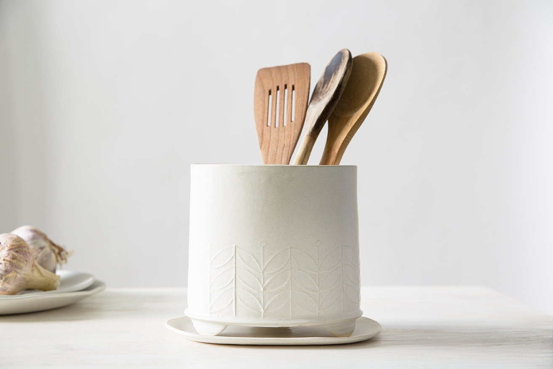 Ceramic Utensil Holder white storage pot Modern Utensil Jar