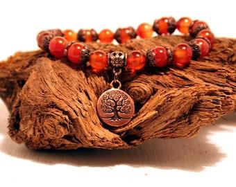 Orange Carnelian, Tree of Life Gemstone Bracelet, Gemstone Bracelet, Yoga Bracelet, Stackable Bracelet, Gemstone Jewelry, Gemstone Beads