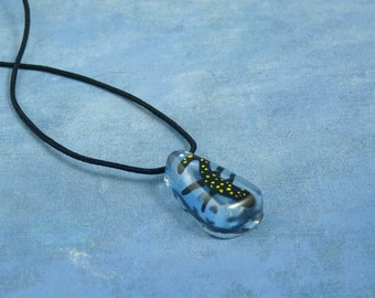 Encapsulated Spotted Salamander Specimen Necklace, Handmade Biology Jewelry