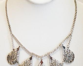 Silver Teardrop Filigree Necklace / Silver Chain Filigree Teardrop Bib Necklace.