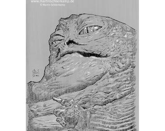 Star Wars Episode 6 Jabba - Sketch Drawing Zeichnung - Original