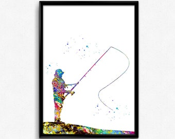 Fisherman Fishing, Colorful Watercolor, Poster, Room Decor, gift, Printable Wall Art (515)