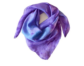 Purple Neckerchief, Silk Bandana, Square Silk, Women Scarf, Blue, Purple, Gift for Her, Hair Scarf, Small Neck Scarf, Headband