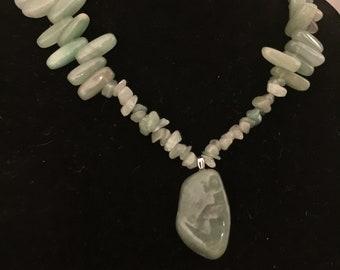 Aventurine stone necklace with pendant