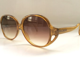 80s Vintage Austrian COBRA Optyl Brown Animal Print Round Frame Ladies Sunglasses