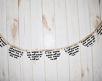 Black, White and Gold Bunting Banner