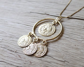 Vintage Necklace, Vintage Gold Coin Necklace, Gold Chain, Republique Francaise, Costume Jewelry