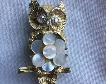 Vintage Owl Pin Rhinestone Mother of Pearl