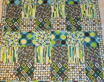Plush fleece Baby Blanket/Modern Quilt - boy- green gray blue geometric patchwork