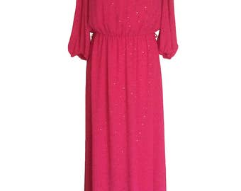 70s Fire Fuscia Rhinestone Shower Evening Party Prom Maxi Dress Vintage
