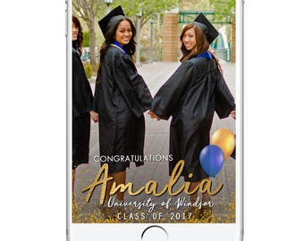 Graduation Snapchat Geofilter, Snapchat Geofilter Party, Graduation Party, Custom Graduation Geofilter, Graduation Filter, Class of 2017