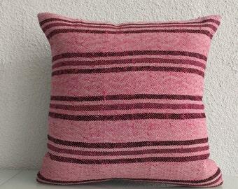 Anatolian Pink Kilim Pillow 20x20 Decorative Kilim Pillow Throw Pillow Bed Pillow Ovedyed Kilim Pillow 681