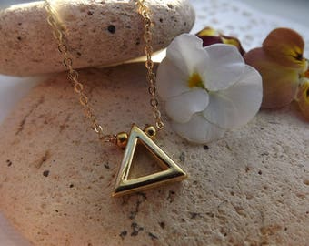 Gold Plated Geometric Triangle Necklace Pendant. Minimailst Jewellery.