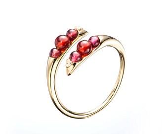 Garnet ring, January birthstone ring, Garnet engagement ring wedding band promise diamond ring, Red garnet birthstone ring red stone ring