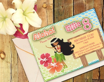 Digital Hawaiian Hula Girl Luau Party Invitation - DIY DIGITAL 4X6 OR 5X7
