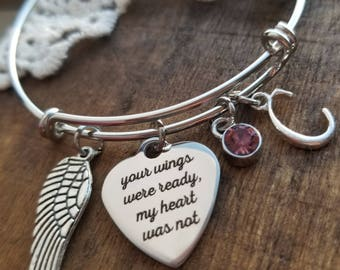Personalized Memorial jewelry, personalized  memorial bracelet, your wings were ready my heart was not, mom, dad, child, baby loss