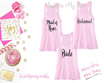 bridal party tanks, bride tank, bridesmaid tank, bridesmaid gift, personalized tank, bachelorette party tanks