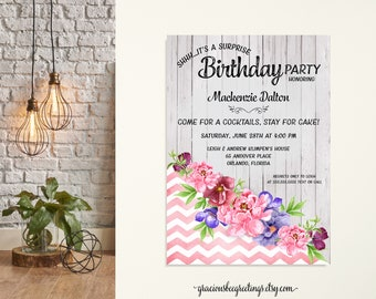 Woman's Birthday Party Invitation, Adult Birthday Invite, Surprise Party, 21st, 30th, 40th, 50th, 65th, 70th, 80th, 90th Celebration