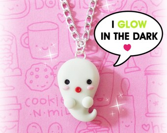 Ghost Necklace, Halloween Necklace, Glow In The Dark Necklaces, Cute Ghost, Polymer Clay Charms, Halloween Jewelry, Glow In The Dark Jewelry