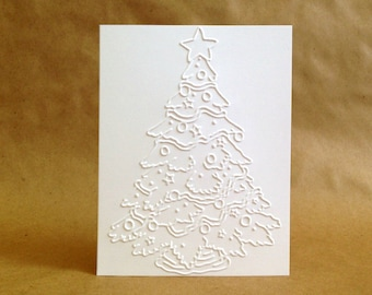 Christmas Cards Boxed Set - Embossed Holiday Card Set of 8 - Boxed Christmas Cards - Embossed Christmas Cards - Unique White Christmas Cards
