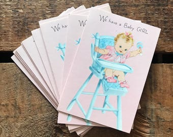 Vintage Baby Girl Birth Announcements - Set of 12 - Vintage Cards, Vintage Announcements, Vintage Baby Cards, Baby Girl Announcements