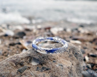 Cornflower blue ring silver stacking rings nature jewelry wife gift stackable silver rings thin ring something blue nature engagement ring