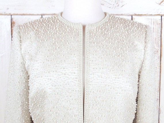 Cassini blazer beaded cropped evening Oleg wedding up formal cardigan ivory small Vintage champagne cover jacket beaded qp4f7w