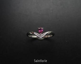 0.3 Carat Pink Tourmaline Engagement Ring