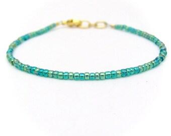 Ocean Blue Green Bracelet, Seed Bead Bracelet, Friendship Bracelet, Summer Jewelry, Blue Green Yoga Bracelet, Teal Bridesmaid, Teal Bracelet