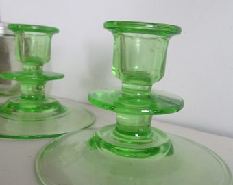 Pair of Green Depression Glass Candle Stick Holder Art Deco Glassware Green Depression Candlestick Holder Light Green Glass Candle Holder