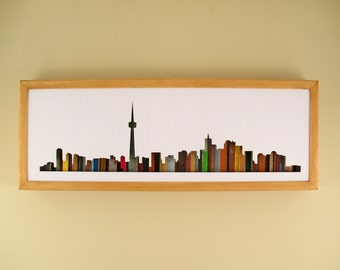 "Toronto Skyline- 24"" by 8"" Recycled Wood Silhouette Wall Art"