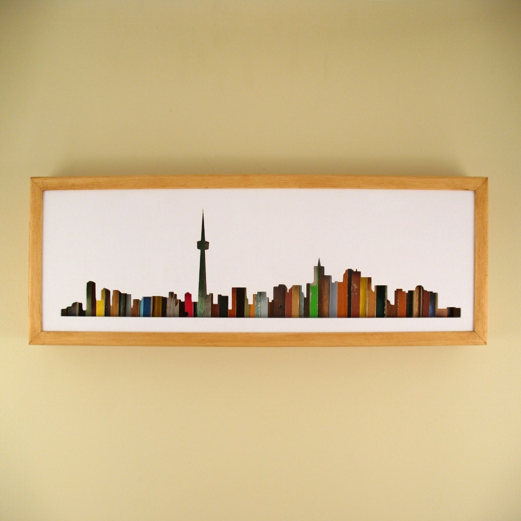 Toronto Skyline 24 by 8 Recycled Wood Silhouette