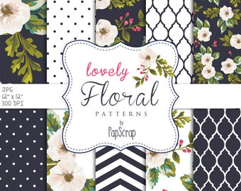 """Floral digital paper : """" Lovely Floral Patterns """" navy blue digital papers with white flowers, chevron, moroccan patterns and dots"""