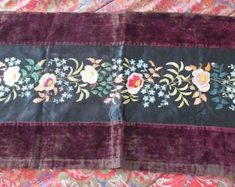 Antique Silk Velvet Embroidery French Stunning