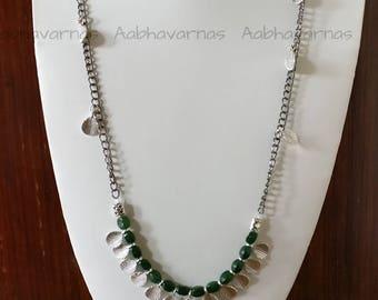 Dark green glass bead necklace earring set