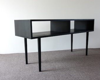 Mid Century Modern Media Credenza, MCM Solid Wood Console