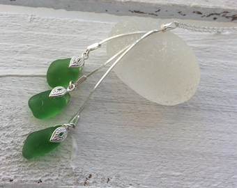 Trio of Green Sea Glass Sterling Silver Necklace