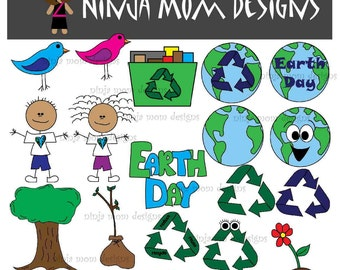 Earth Day Clip Art in Color and Black and White