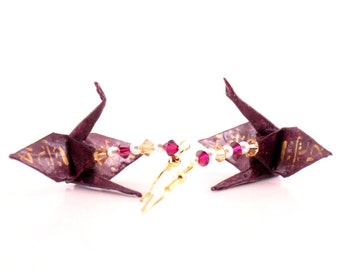 Small Origami Crane Earrings with Swarovski Crystal bicones, Love Kanji on Black Plum Jewelry