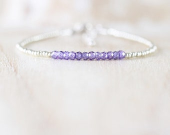 Dainty Zircon, Miyuki Seed Bead & Sterling Silver Bracelet. Amethyst Purple Gemstone Stacking Bracelet. Delicate Beaded Layering Jewellery