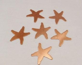 Copper shape starfish set of 6 copper star fish