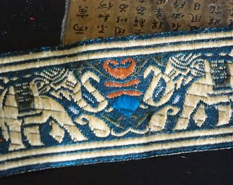 Trimmings Laos traditional 5 cm - background blue Elephants