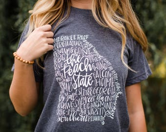 Hand Lettered THE PEACH STATE Georgia Tee / / Georgia Graphic Tee / / The Peach State Graphic Tee