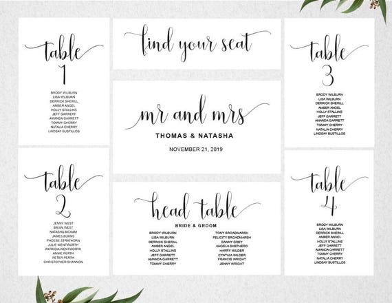 Wedding Seating Chart Template Instant Download  Seating